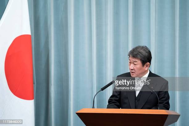 Japan's newly appointed Foreign Minister Toshimitsu Motegi speaks during a press conference at the prime minister's official residence on September...