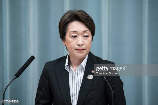 Japan's newly appointed Minister for the Tokyo Olympic and Paralympic Games Seiko Hashimoto speaks during a press conference at the prime minister's...
