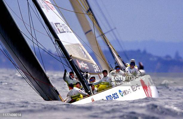 "Japan's Nippon Challenge yacht ""Asura"" dives into a swell during their match against the Paul Cayard skippered ""AmericaOne"" on race day nine of the..."