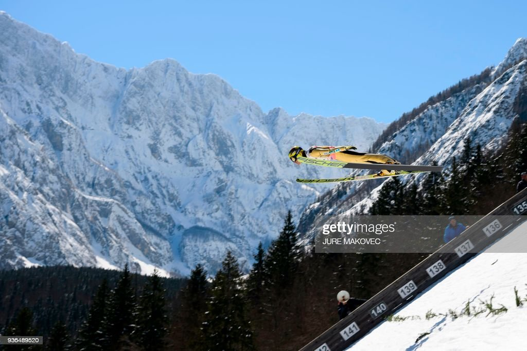 Japan's Noriaki Kasai jumps during the men's Flying Hill Individual training round at the FIS Ski Jumping World Cup in Planica on March 22, 2018. / AFP PHOTO / Jure Makovec