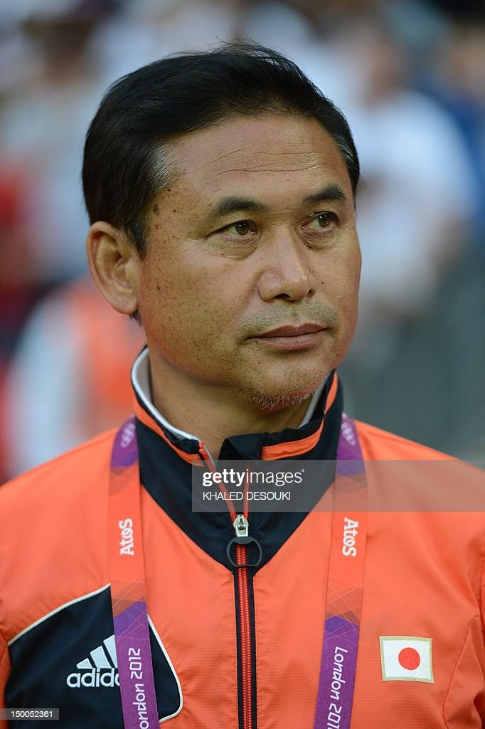 Japan's Norio Sasaki takes place for the final of the women's football competition of the London 2012 Olympic Games USA vs Japan on August 9, 2012 at Wembley stadium in London.
