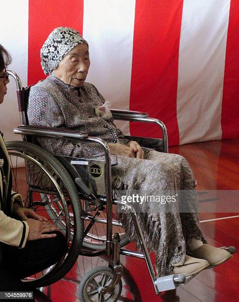 Japan's oldest person Chiyono Hasega 113yearold attends the Japan's RespectfortheAgedDay ceremony at Kiyama town in Saga prefecture western Japan on...
