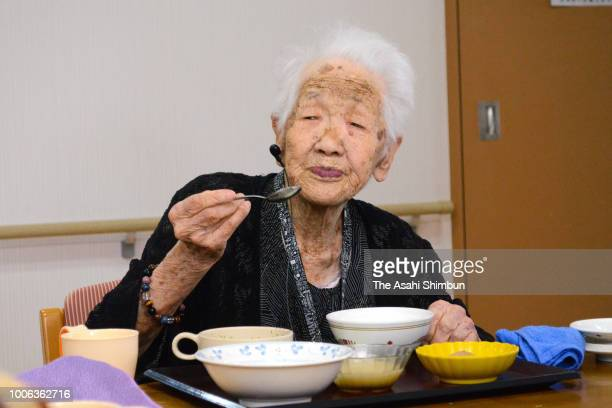 Japan's oldest person Kane Tanaka has lunch at a nursing home on July 27 2018 in Fukuoka Japan World's oldest person Chiyo Miyako died on July 21...