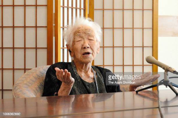 Japan's oldest person Kane Tanaka speaks during a press conference at a nursing home on July 27 2018 in Fukuoka Japan World's oldest person Chiyo...