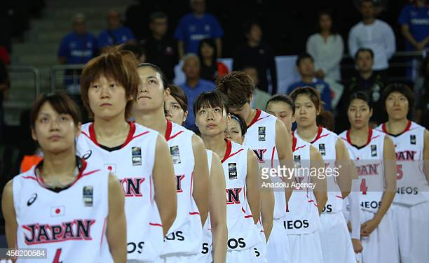 Japan's players ahead of the 2014 FIBA World Championship For Women Group A basketball match between Japan and Spain at the Ankara Arena on September...