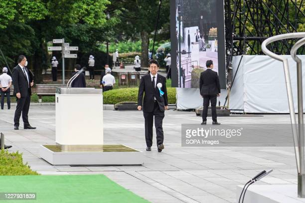 Japan's Prime Minister Abe Shinzo at the Hiroshima Peace Memorial Ceremony Hiroshima marks the 75th anniversary of the US atomic bombing which killed...