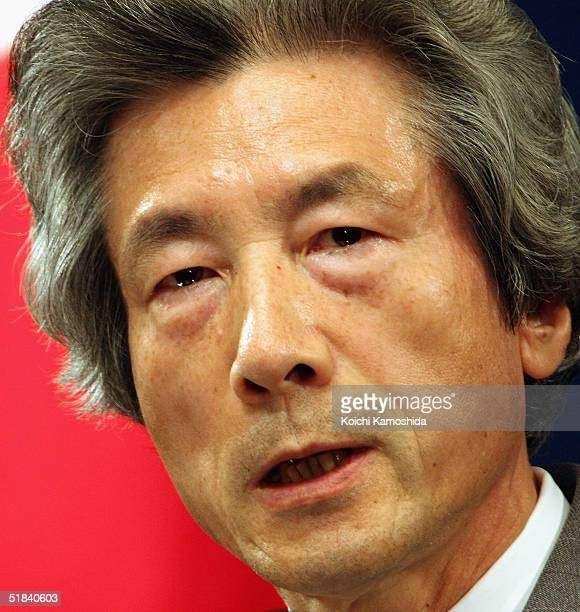 Japan's Prime Minister Junichiro Koizumi talks during a press conference at the prime minister's official residence on December 9 2004 in Tokyo Japan...