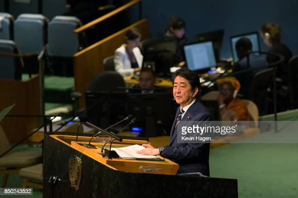 Japan's Prime Minister Shinzo Abe addresses the UN General Assembly at the United Nations on September 20 2017 in New York New York