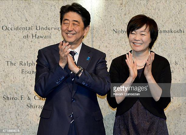 Japan's Prime Minister Shinzo Abe and his wife Akie Abe attend a reception at the Japanese American National Museum May 1 2015 in Los Angeles...