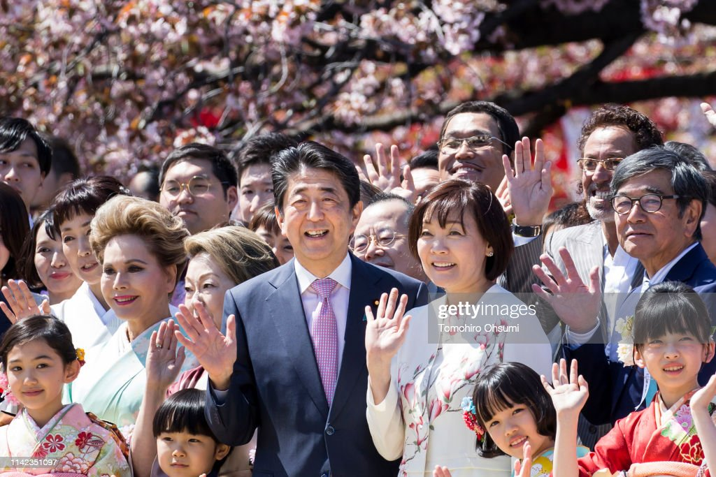 Japanese PM Abe Hosts Cherry Blossom Viewing Party : ニュース写真