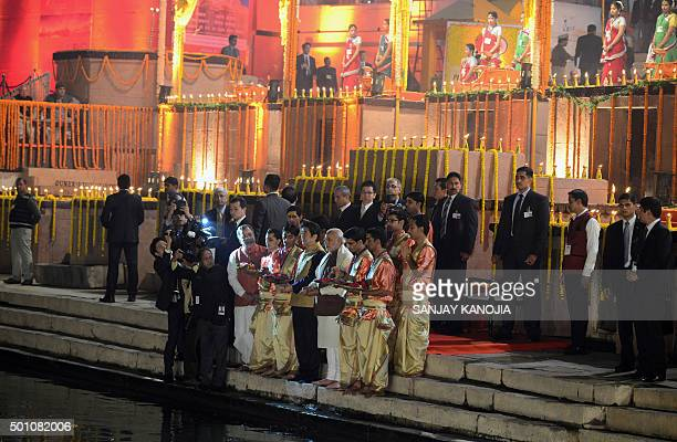 Japan's Prime Minister Shinzo Abe and India's Prime Minister Narendra Modi attend the evening 'Aarti' ritual on the banks of the River Ganges at...