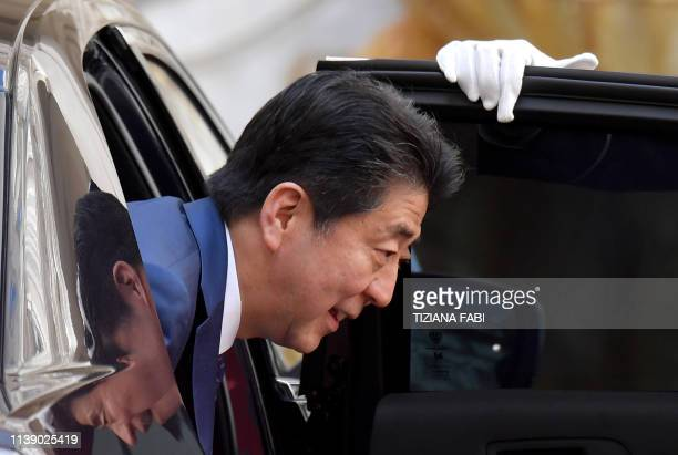 TOPSHOT Japan's Prime Minister Shinzo Abe arrives at the Palazzo Chigi to attend a meeting with Italy's Prime Minister on April 24 2019 in Rome...
