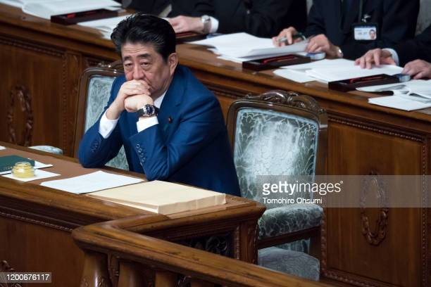 Japan's Prime Minister Shinzo Abe attends a plenary session at the lower house of the parliament on January 20, 2020 in Tokyo, Japan. The Japanese...