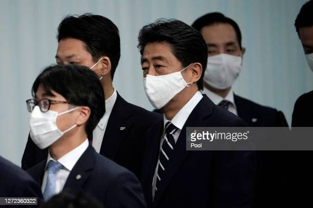 Japan's Prime Minister Shinzo Abe attends the Liberal Democratic Party's leadership election on September 14, 2020 in Tokyo, Japan.