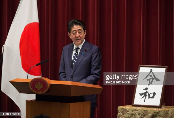 Japan's Prime Minister Shinzo Abe delivers a speech at the prime minister's office in Tokyo on April 12019 Japan announced its new imperial era which...