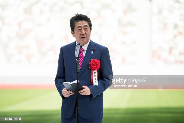 Japan's Prime Minister Shinzo Abe delivers his speech during the construction completion ceremony of the New National Stadium on December 15 2019 in...
