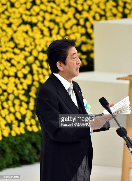 Japan's Prime Minister Shinzo Abe makes an opening remarks during the 72th anniversary ceremony of the end of World War II at Tokyo Budokan hall...