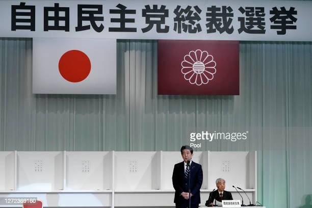 Japan's Prime Minister Shinzo Abe speaks after Japanese Chief Cabinet Secretary Yoshihide Suga winning the Liberal Democratic Party's leadership...