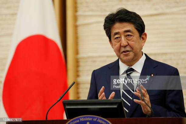 Japan's Prime Minister Shinzo Abe speaks at a news conference on May 25, 2020 in Tokyo, Japan. Prime Minister Abe said on Monday that the state of...