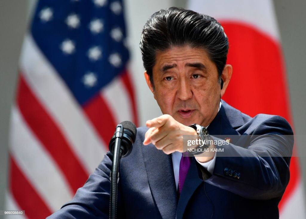 Japan's Prime Minister Shinzo Abe speaks during a joint press conference with US President Donald Trump in the Rose Garden of the White House on June 7, 2018 in Washington, DC.