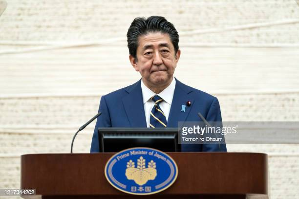 Japan's Prime Minister Shinzo Abe speaks during a press conference at the Prime Minister's official residence on April 07 2020 in Tokyo Japan The...