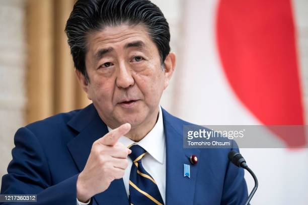 Japan's Prime Minister Shinzo Abe speaks during a press conference at the prime minister's official residence on April 07, 2020 in Tokyo, Japan. The...
