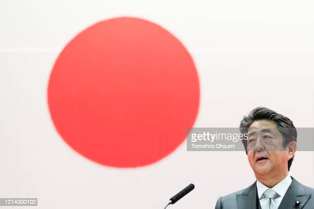 Japan's Prime Minister Shinzo Abe speaks during the graduation ceremony of the National Defense Academy on March 22, 2020 in Yokosuka, Japan. 508...
