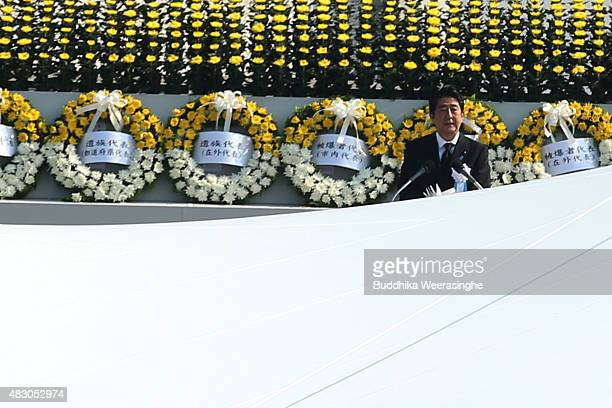 Japan's Prime Minister Shinzo Abe speeches during the ceremony to mark the 70th anniversary of the bombingat the Hiroshima Peace Memorial Park on the...