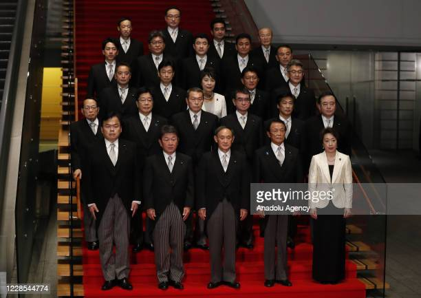 Japan's Prime Minister Yoshihide Suga attends a photo session with his cabinet ministers at Suga's Official Residence in Tokyo Japan September 16 2020