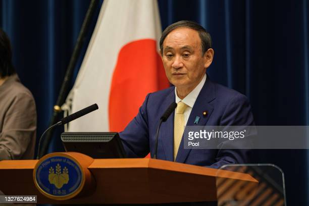 Japan's Prime Minister Yoshihide Suga speaks during a press conference at the prime minister's official residence on July 08, 2021 in Tokyo, Japan....