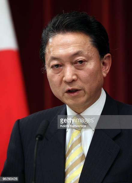 Japan's Prime Minister Yukio Hatoyama attends a press conference on financial year 2010 budget at Hatoyama's official residence on December 25 2009...