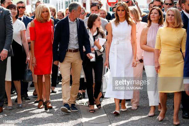 Japan's Prime Minister's wife Akie Abe French President's wife Brigitte Macron Mayor of Espelette JeanMarie Iputcha US First Lady Melania Trump...