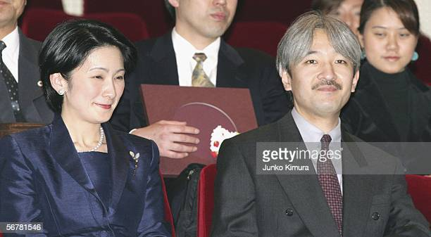 "Japan's Prince Akishino and his wife Princess Kiko attend Ginza Gas Hall to watch a Thai film ""Fan Chan"" at a charity preview for the Tsunami Victims..."