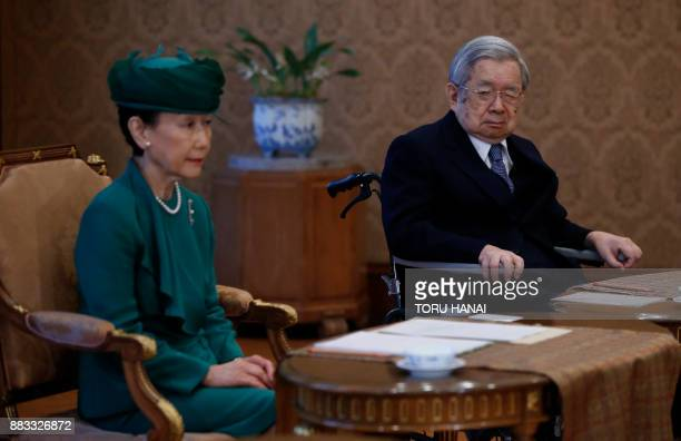 Japan's Prince Hitachi and his wife Princess Hanako attend a meeting of the Imperial Household Council to discuss the timeline for the abdication of...