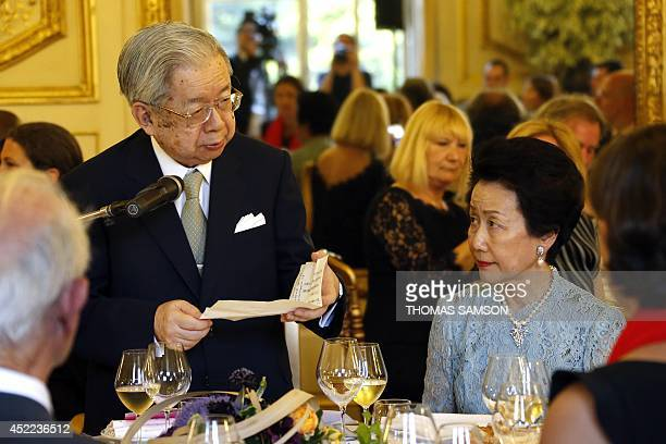 Japan's Prince Hitachi and Princess Hanako attend the official dinner of the Praemium Imperiale Prize at Luxembourg Palace in Paris on July 16 2014...