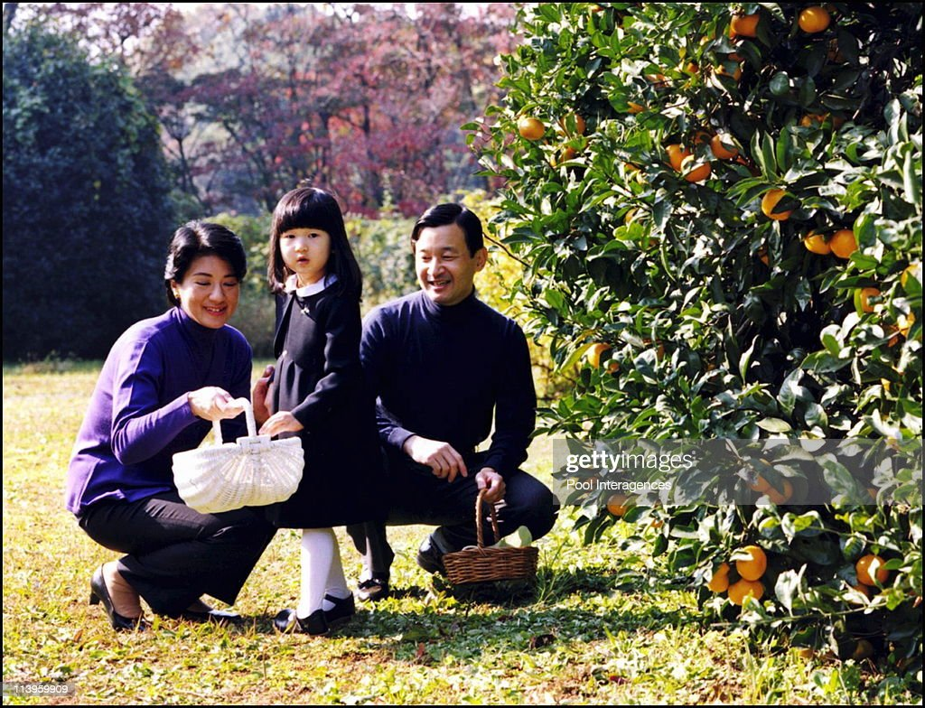 Japan's Princess Aiko In Tokyo, Japan On November 30, 2005 -Japan's Princess Aiko (C) enjoys picking mandarin oranges with her parents Crown Prince Naruhito and Crown Princess Masako during a stroll through their Togu Palace residence garden in Tokyo in this picture released by the Imperial Household Agency on November 30, 2005 for distribution December 1, 2005. Aiko turned four on Thursday. Picture taken 24NOV05. FOR EDITORIAL USE ONLY , Imperial Household Agency/Handout/Gamma.
