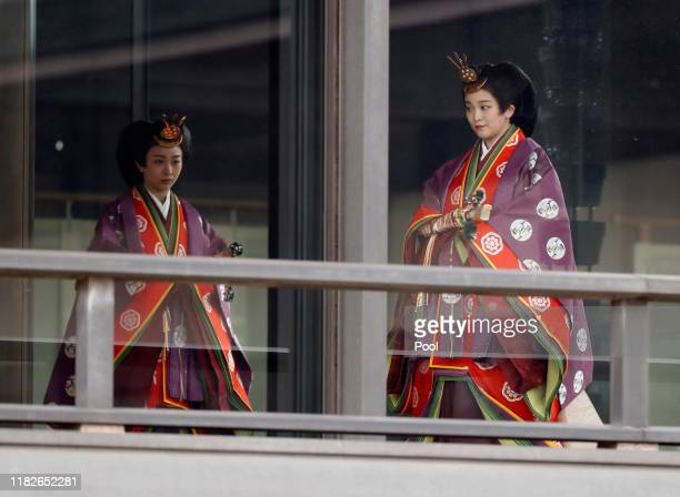 Japan's Princess Kako and Princess Mako arrive for a ceremony to proclaim Emperor Naruhito's enthronement to the world, called Sokuirei-Seiden-no-gi,...