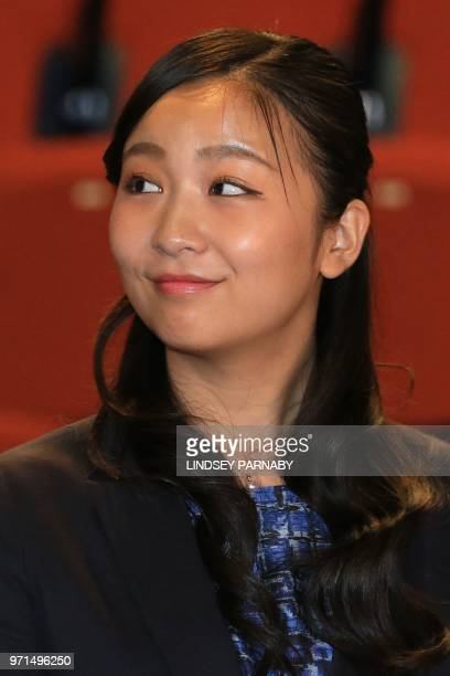 Japan's Princess Kako the daughter of Japan's Prince Akishino and Princess Kiko attends a photocall in the Stage building at Leeds University in...
