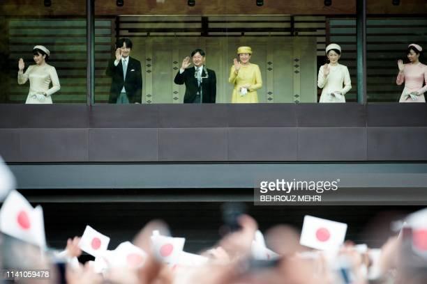 TOPSHOT Japan's Princess Mako Crown Prince Akishino Emperor Naruhito Empress Masako Crown Princess Kiko and Princess Mako wave to the crowd during...