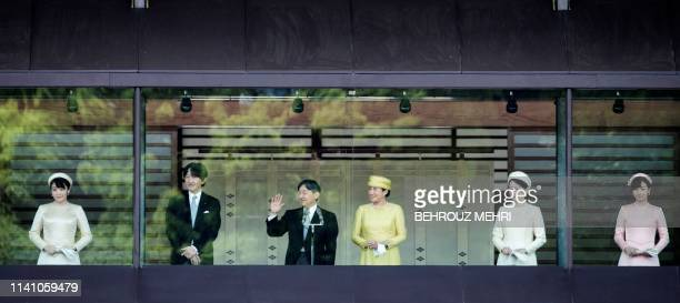 Japan's Princess Mako Crown Prince Akishino Emperor Naruhito Empress Masako Crown Princess Kiko and Princess Mako wave to the crowd during the...