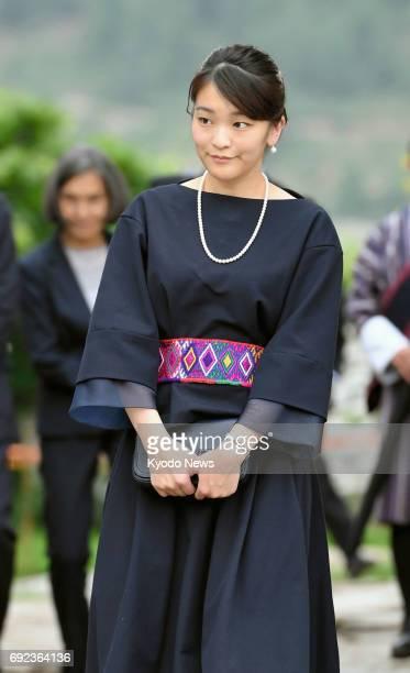 Japan's Princess Mako the eldest grandchild of Emperor Akihito and Empress Michiko visits Kyichu Lhakhang a renowned Himalayan Buddhist temple in...
