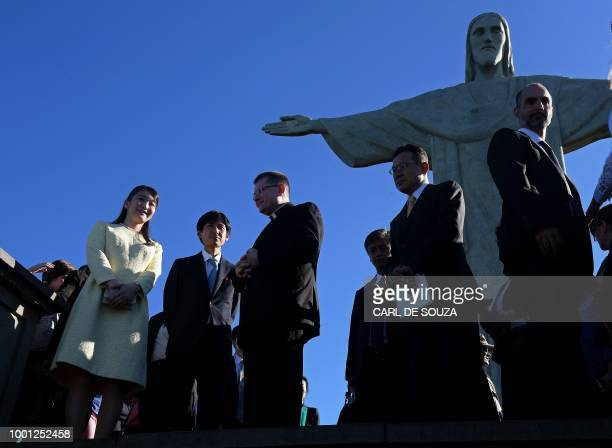 Japan's Princess Mako the eldest granddaughter of Emperor Akihito and Empress Michiko visits the Christ the Redeemer statue in Rio de Janeiro Brazil...