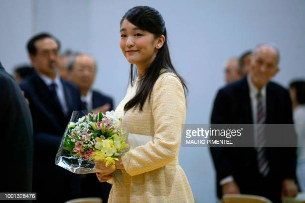 Japan's Princess Mako the eldest granddaughter of Emperor Akihito and Empress Michiko attends an event at the Nikkei Association in Rio de Janeiro...