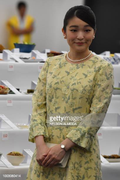 Japan's Princess Mako the eldest granddaughter of Emperor Akihito and Empress Michiko visits the 21st Japan Festival in Sao Paulo Brazil on July 21...