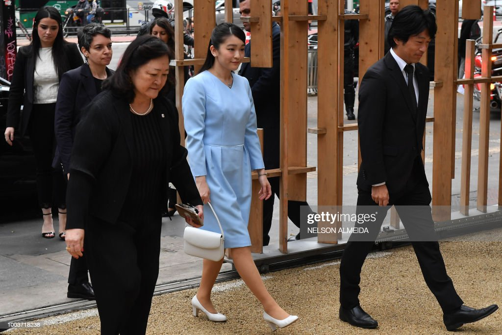 Japan's Princess Mako (C), the eldest granddaughter of Emperor Akihito and Empress Michiko, arrives to visit the Japan House cultural promotion centre in Sao Paulo, Brazil, on July 22, 2018. - Princess Mako arrived in the country for the ceremonies to mark the 110th anniversary of the first waves of Japanese immigration to Brazil.