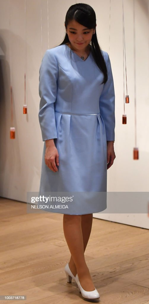 Japan's Princess Mako, the eldest granddaughter of Emperor Akihito and Empress Michiko, visits the Japan House cultural promotion centre in Sao Paulo, Brazil, on July 22, 2018. - Princess Mako arrived in the country for the ceremonies to mark the 110th anniversary of the first waves of Japanese immigration to Brazil.