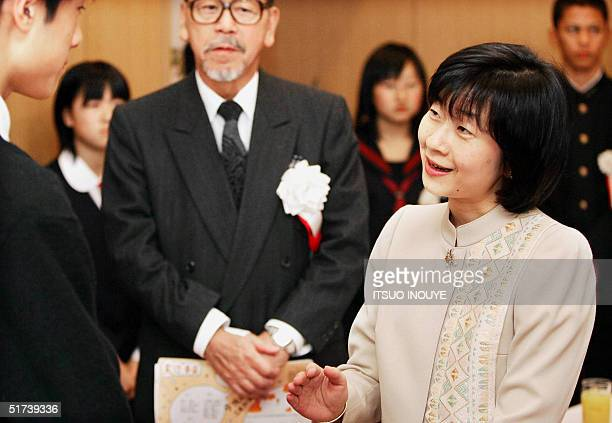 Japan's Princess Sayako shares a light moment with a participant after a student speech contest in Tokyo 14 November 2004 It was announced 14...
