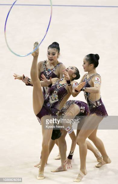 Japan's rhythmic gymnastics team performs in the hoops final at the world championships in Sofia on Sept 16 2018 Japan won silver ==Kyodo