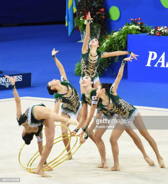 Japan's rhythmic gymnastics team performs in the team hoops final at the world championships in Pesaro Italy on Sept 3 2017 Japan won bronze ==Kyodo