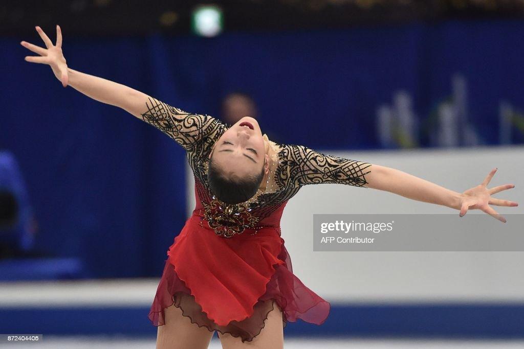 Japan's Rika Hongo performs during the women's singles short program of the Grand Prix of Figure Skating 2017/2018 NHK Trophy in Osaka on November 10, 2017. / AFP PHOTO / Kazuhiro NOGI